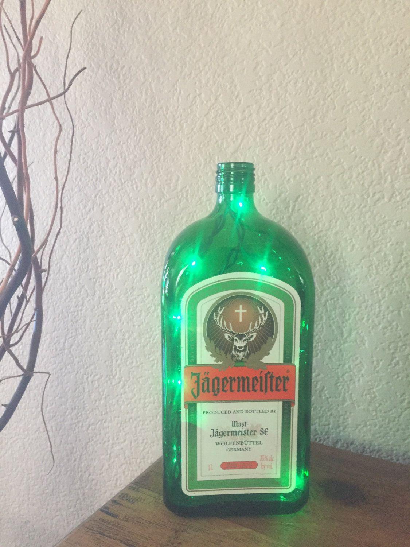 Jagermeister, Bottle Light, Spirits Bottle Light, Alcohol Bottle Light,  Recycled, Man Cave, Bar Light, Jagermeister Light, Accent Light.