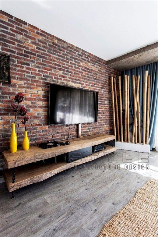 mur en brique derri re la tv salon s jour pinterest. Black Bedroom Furniture Sets. Home Design Ideas