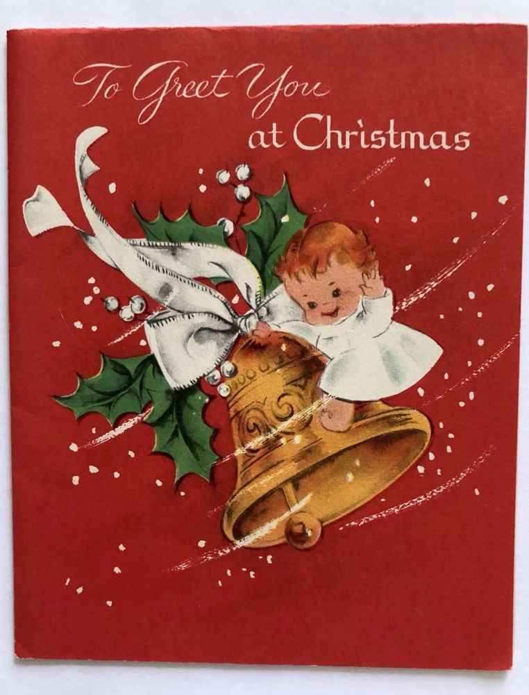 Vintage Christmas Card Child Boy Girl Bell Snow Bow Mistletoe Swing