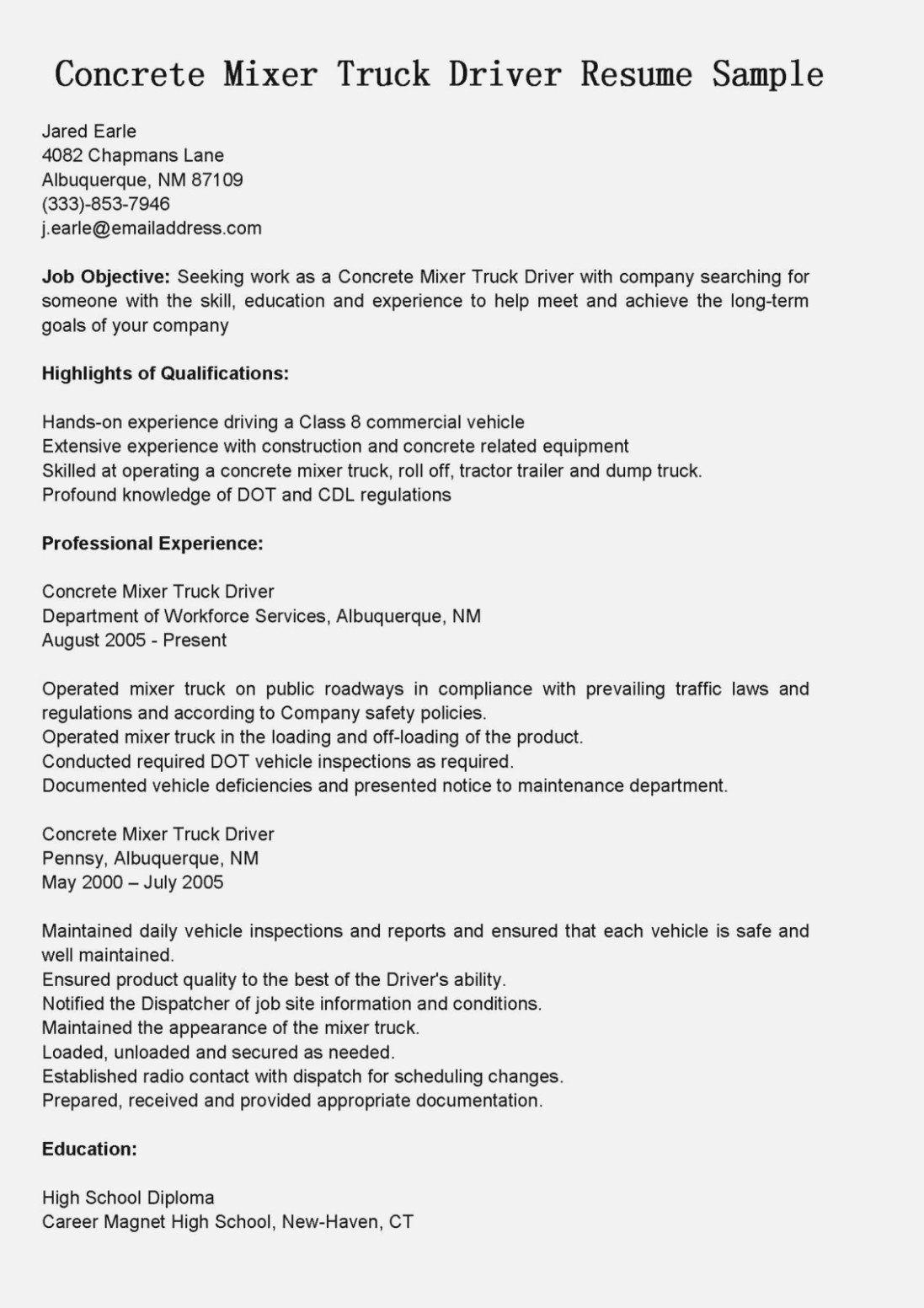 Cdl Truck Driver Job Description For Resume Inspirational Truck Driver Job Description Best Image Truck Kusaboshi