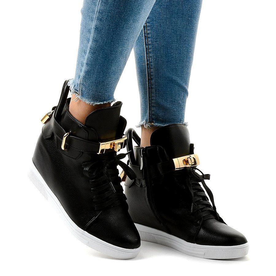 Czarne Sneakersy Na Koturnie Z Klamra H6600 Black Wedge Sneakers Wedge Sneakers Womens Boots