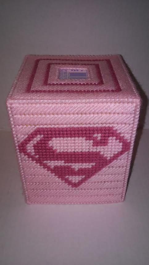 Super Woman Tissue Box Cover Decor Pink