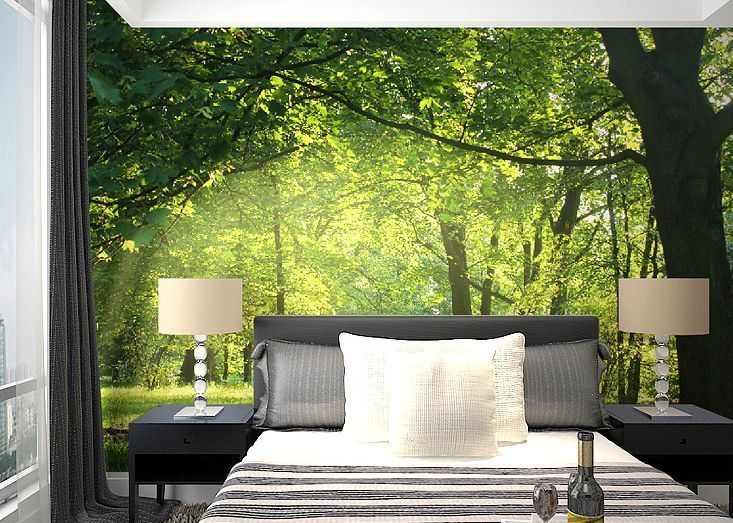 details zu 3d die sonne im wald fototapeten wandbild. Black Bedroom Furniture Sets. Home Design Ideas