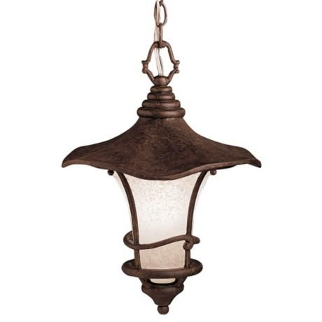 "Kichler Rustic Bronze Outdoor Hanging Light  Takes one 150 watt bulb (not included). 16 1/2"" high. 12"" wide."