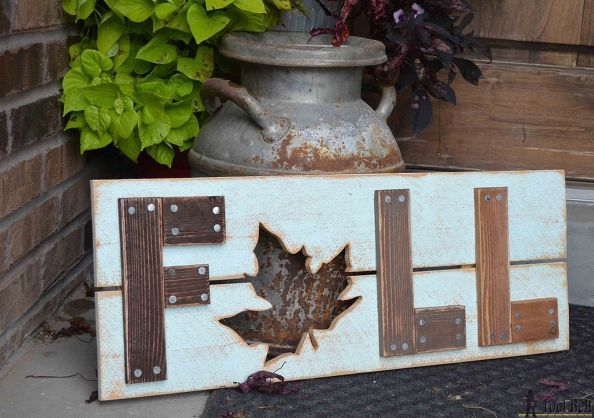 wooden fall sign, crafts, diy, home decor, woodworking projects