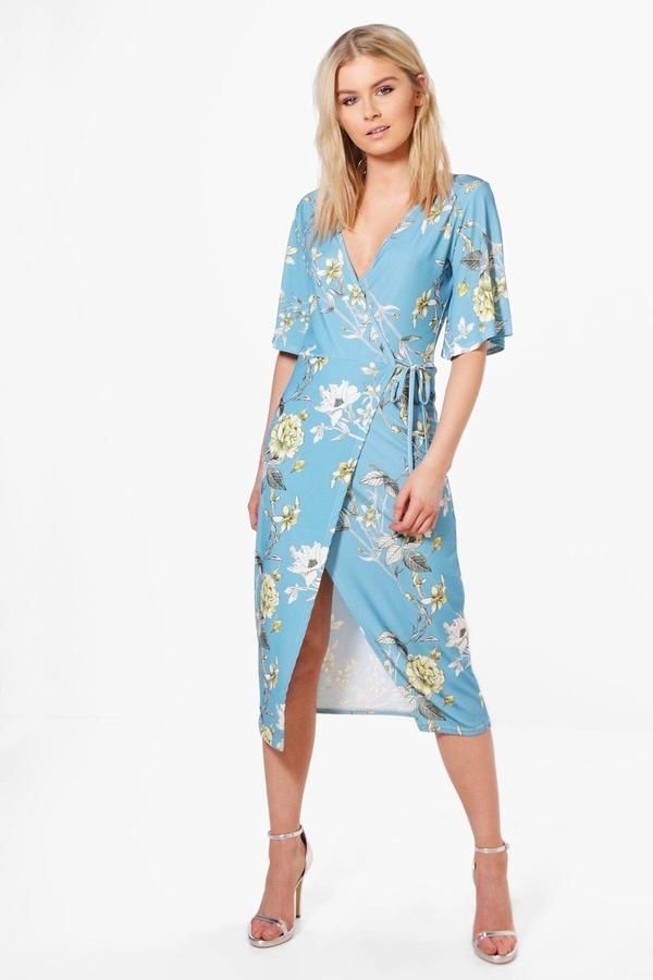 3bbab837c5 Maya Floral Kimono Sleeve Tie Wrap Midi Dress in 2018