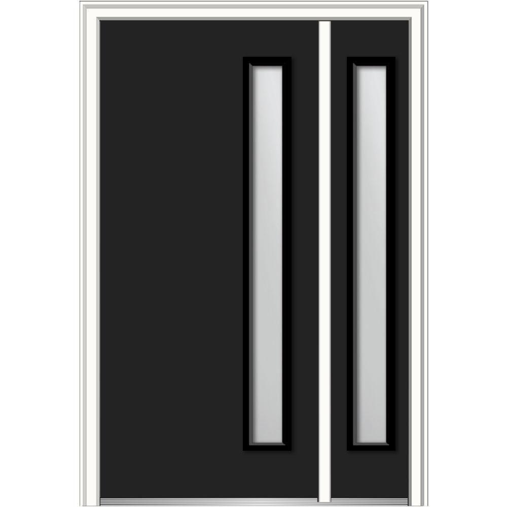 Mmi Door 53 In X 81 75 In Viola Frosted Glass Left Hand Inswing 1 Lite Midcentury Painted Steel Prehung Front Door W Sidelite Z0355191l Black Front Doors Frosted Glass Steel Doors