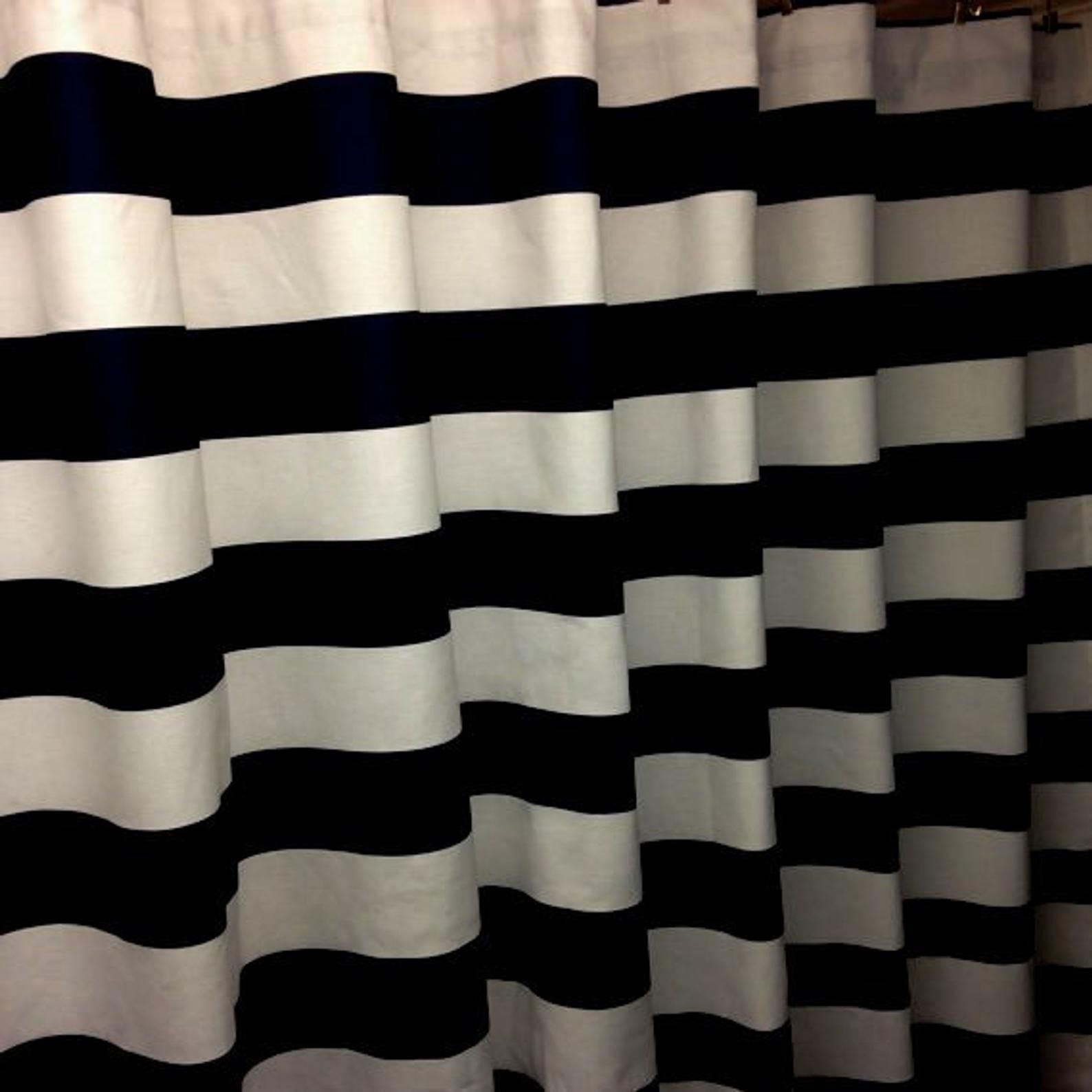Black And White Horizontal 3 Stripe Shower Curtain Decorator