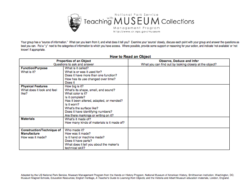 Here S A Helpful Chart On How To Read An Object Teaching Social Studies This Or That Questions