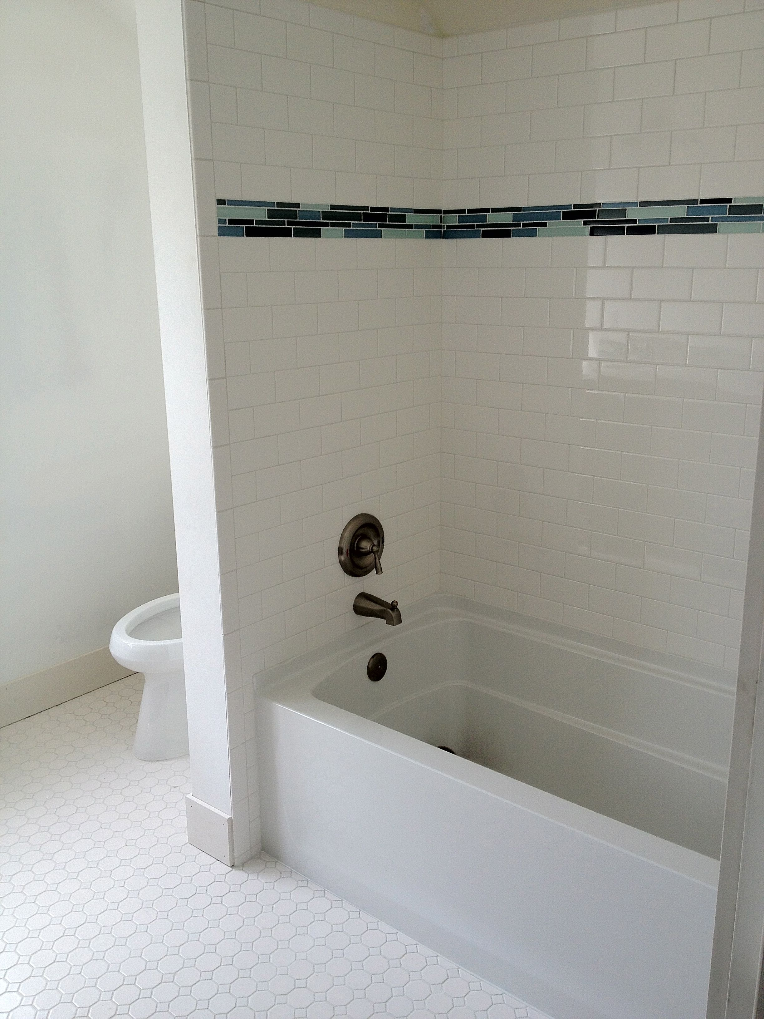 subway tile walk in shower subway tile with glass tile trim