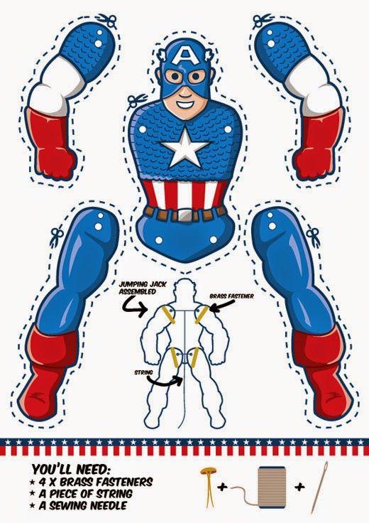 Capitán América movible para Imprimir Gratis. | Ideas y material ...