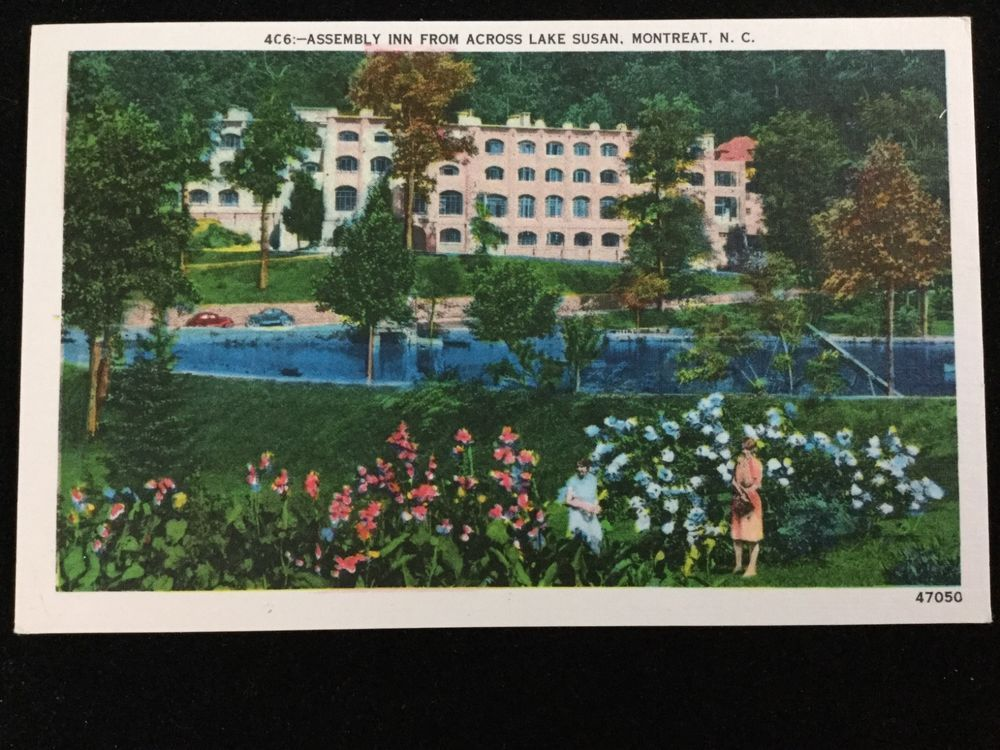 Mid-1900s Assembly Inn from across Lake Susan, Montreat, NC postcard