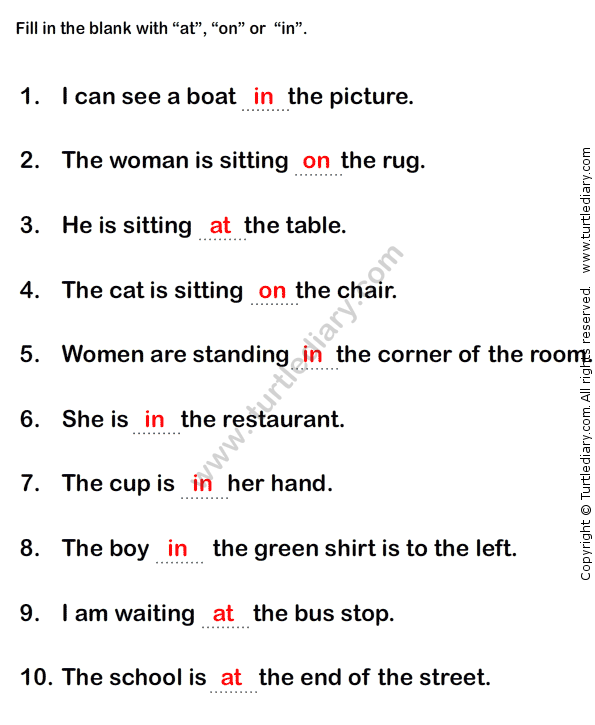 Prepositions Worksheet1 - esl-efl Worksheets - grade-1 Worksheets : Preposition Worksheets ...