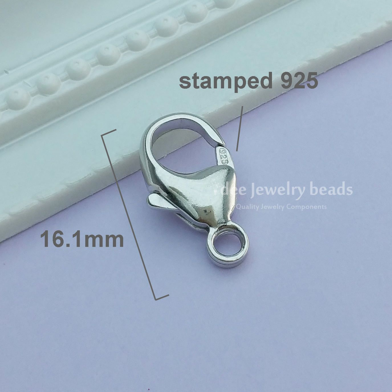 size 13mm or 16mm 925 Sterling Silver Oval Trigger Lobster Clasp with ring