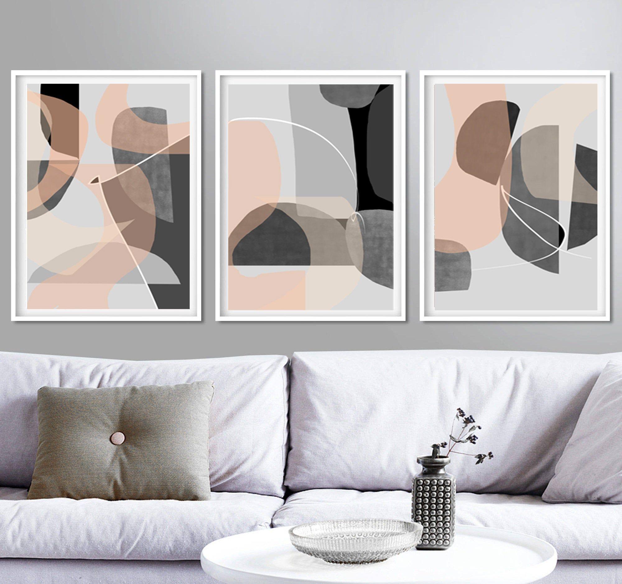 Modern Triptych Grey Abstract Art 3 Piece Wall Art Gray Pink Etsy In 2021 Grey Abstract Art Wall Art Decor Living Room Diy Canvas Wall Art