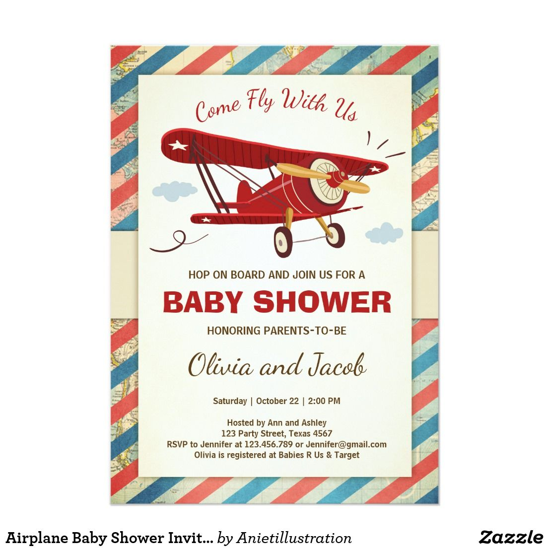 Airplane Baby Shower Invitation Travel Adventure | Airplane baby ...