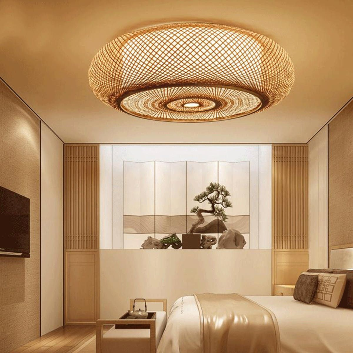 Bamboo Round Ceiling Plafon Lamp In 2020 Ceiling Lights Living Room Bedroom Ceiling Light Ceiling Light Design
