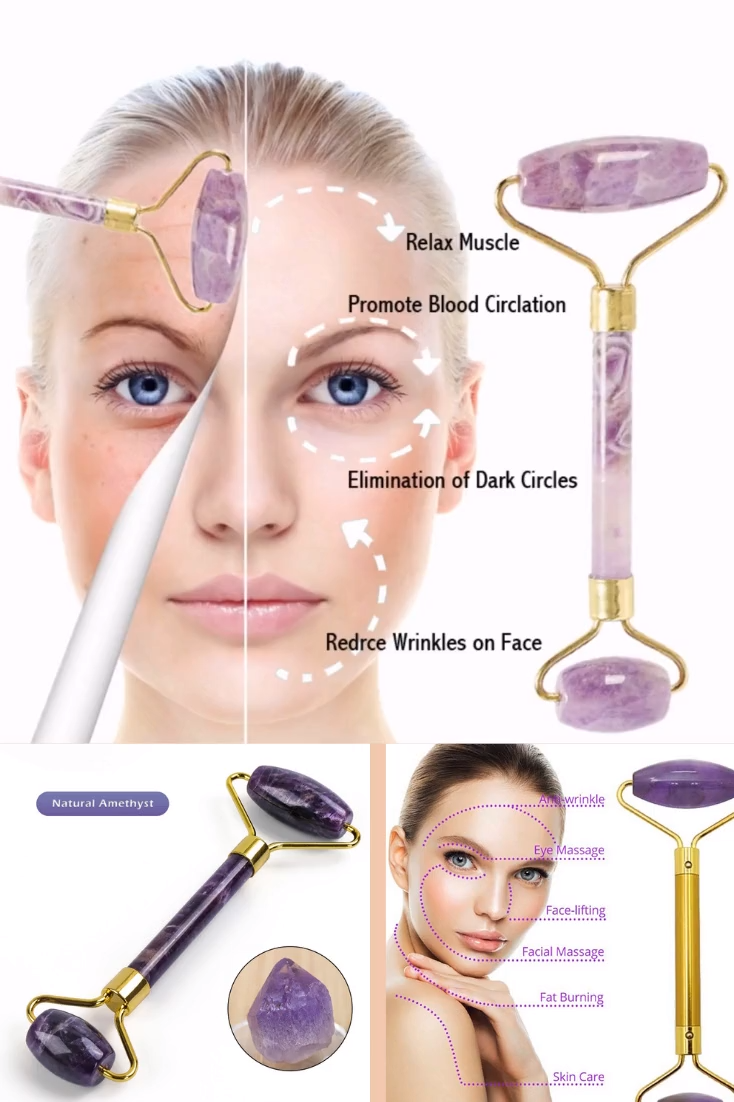 Natural Amethyst face roller revive beauty, it helps a lot to release the negative energy from your mind and soul, alleviate stress by attracting positive energy and relaxing the mind. Massaging stiff facial muscles around the jaw, cheeks and forehead can help fight wrinkles and decrease puffiness. Key benefits: ⭐Increases elasticity of skin ⭐Reduces appearance of pores⭐Boosts overall collagen levels ⭐Promotes lymphatic drainage ⭐Eliminates toxins⭐Reduces puffiness & wrinkles. Huge Sale