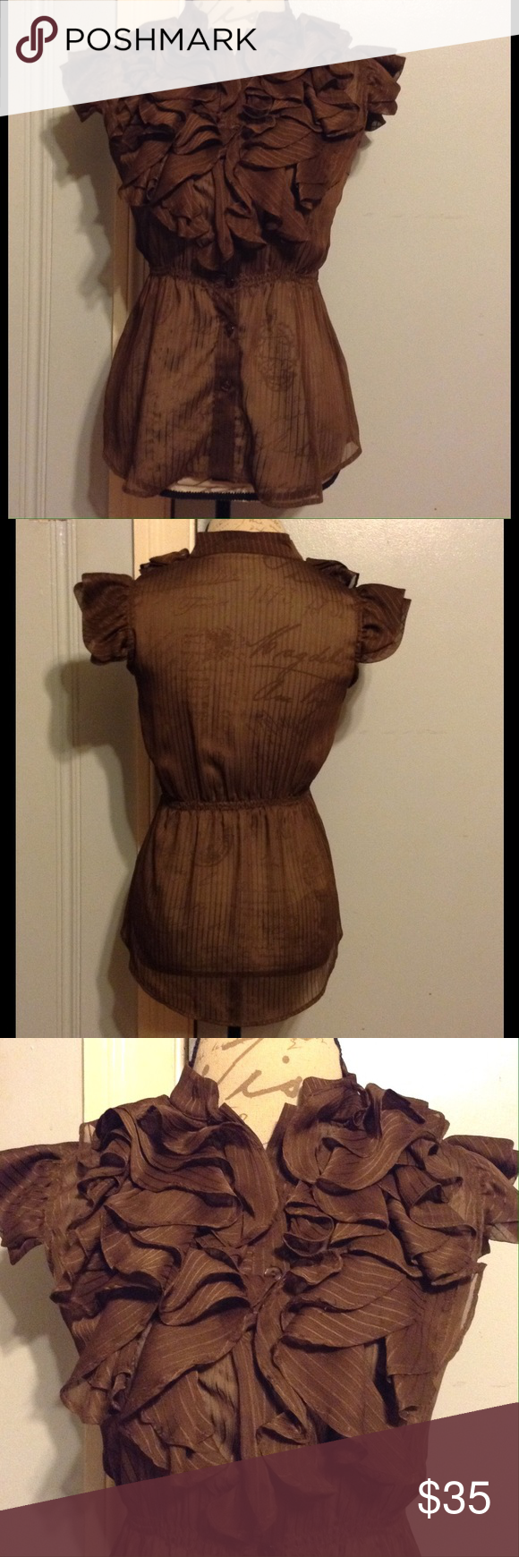 "SOPHIE & KATE Sheer Pecan Brown Striped Ruffle Top SIZE 19.5"" Sides. 21.5"" Front Length. 23"" Back Length. Short Double Ruffle Sleeves. Center Button Down Front. Multi Layered Ruffles Adorn Front. Elastic Waist. Beautiful Sheer Pecan Brown Top w/ Shiny Pin Stripes. Mini Collar. EUC WORN ONCE Sophie & Kate Tops Blouses"