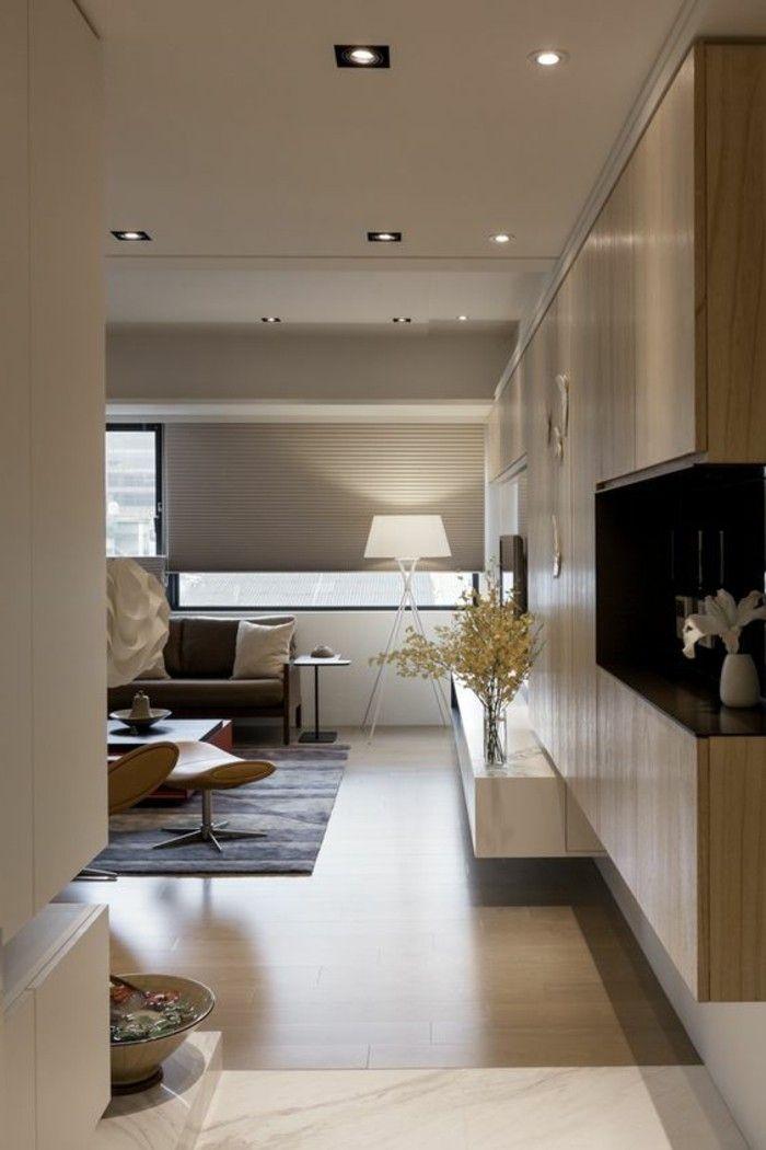 1 amenager salon salle a manger idee deco salon couleur taupe tapis noir lampe de lecture - Deco Salon Salle A Manger Couleurs