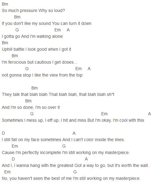 Jessie J Masterpiece Chords Capo 1 Jessie J Pinterest Jessie