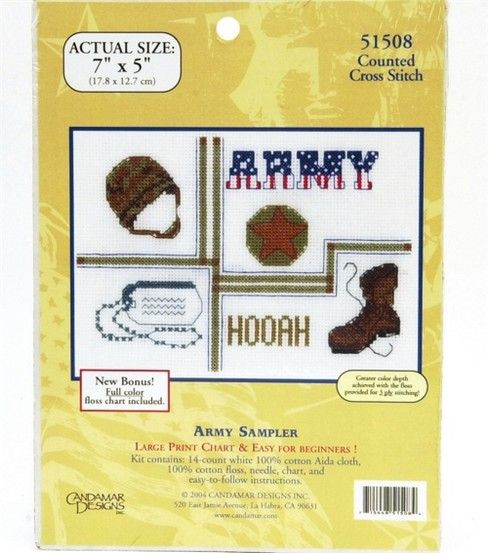 Express your love for the army with a themed cross stitch wall decor ...
