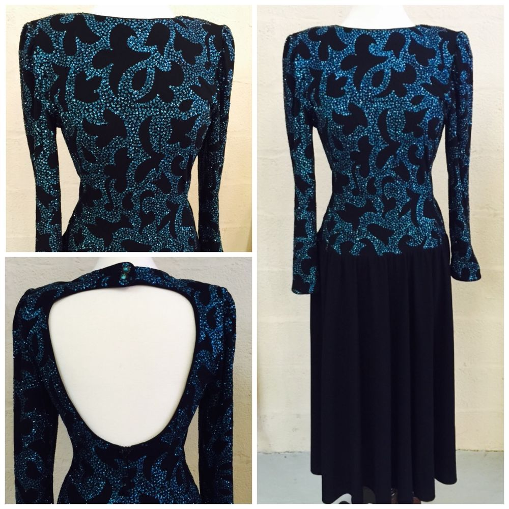 True Vintage Neiman Marcus Blue and Black Open Back long dress Teal Sexy Classy