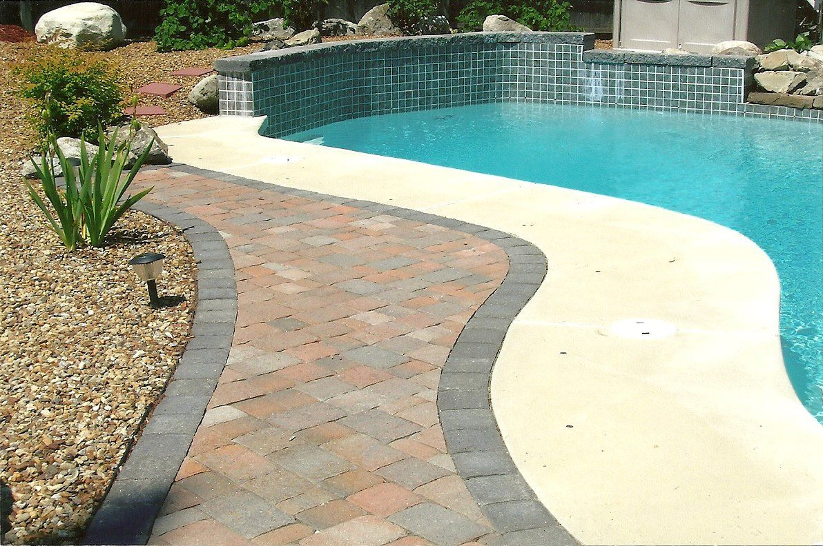 Image Result For Pool Concrete Patio With Pavers Pool Patio Designs Backyard Pool Concrete Patio
