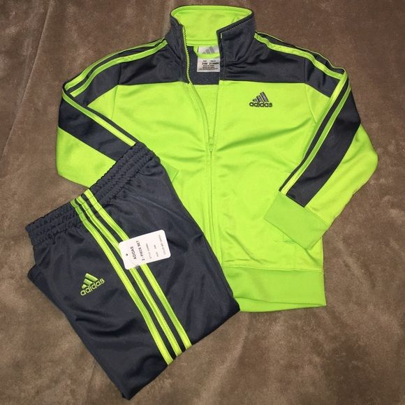 4f0d2d9f Adidas toddler boy tracksuit NWT Lime green and grey Adidas ...