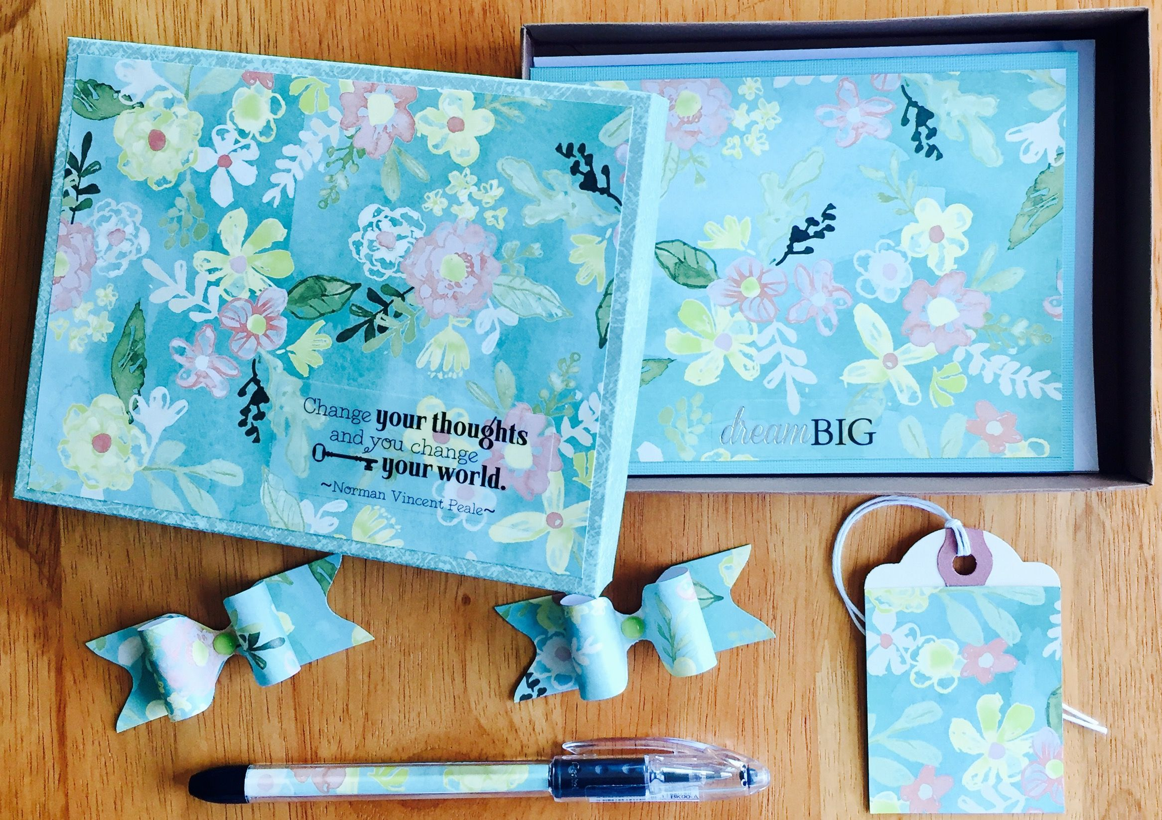 Mint Floral Boxed Stationery Gift Set With Matching Pen Greeting