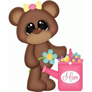 Silhouette Design Store: bear with flowers for mom