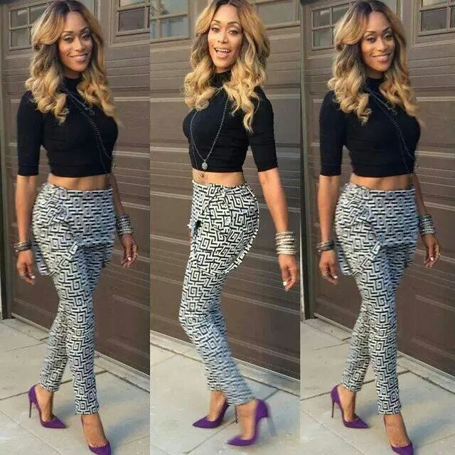 Tami Roman Basketball Wives Purple Pumps Crop Top Printed Overalls Fashion Roman Fashion Clothes For Women