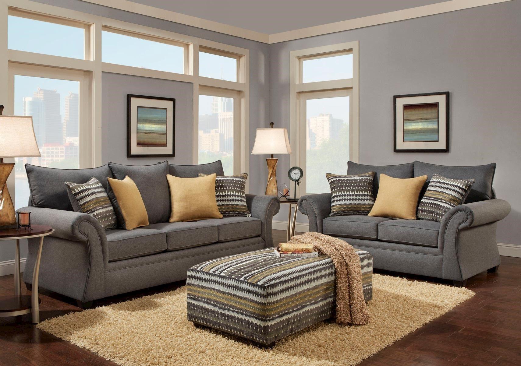 Lacks Jitterbug Gray 2 Pc Living Room Set Contemporary Living Room Sets Living Room Grey Living Room Color Schemes #photo #ideas #for #living #room