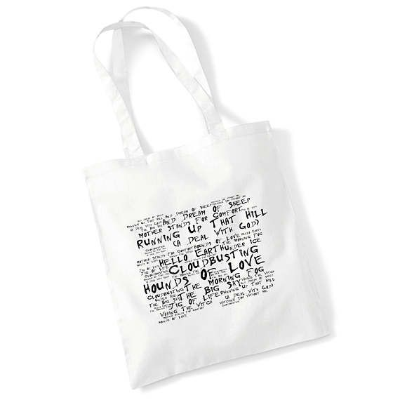 b02eb0432 Cotton Tote Bag KATE BUSH Music Song Lyrics Album Art Print ...
