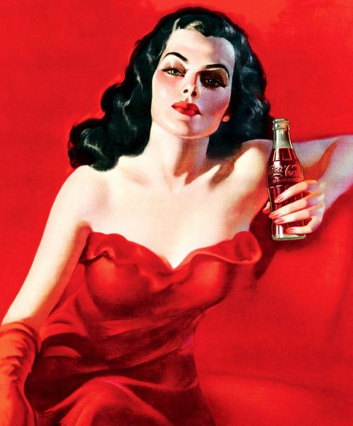"""""""Lady in Red"""" Coca-Cola ad from Brazil, 1950  Now what was that colour I always associated with Coke? I'll ask Santa...."""