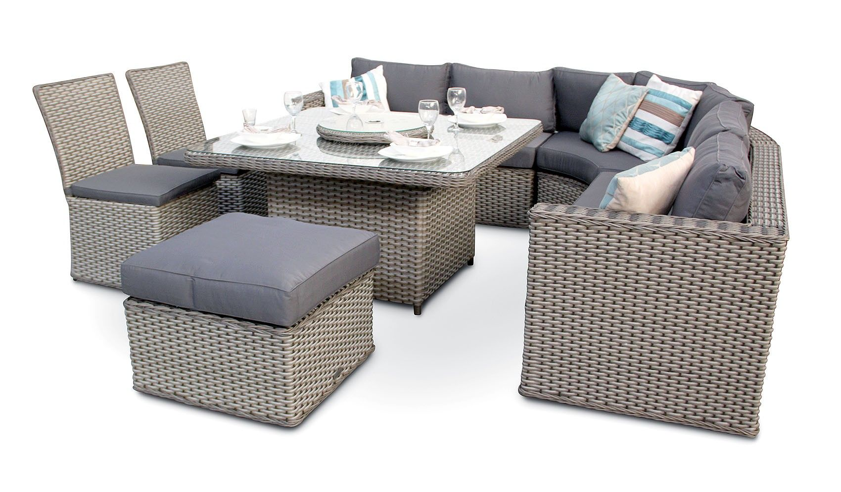 6pc milan modular rattan corner sofa set outdoor furniture cover brantwood 8pc round back dining with chairs whitewash grey