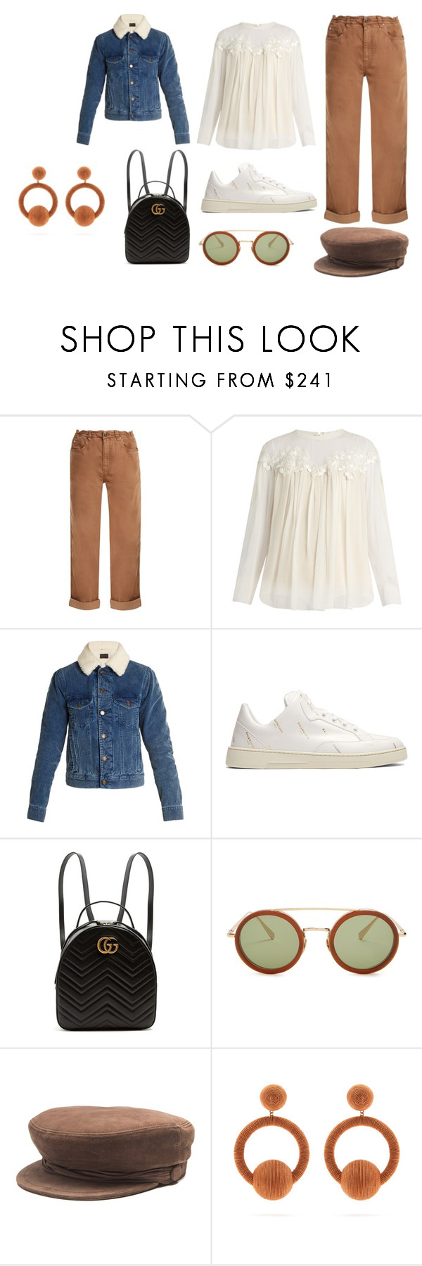 """Sin título #3379"" by ceciamuedo ❤ liked on Polyvore featuring Brunello Cucinelli, Chloé, Yves Saint Laurent, Balenciaga, Gucci, Kaleos, Maison Michel and Rebecca de Ravenel"