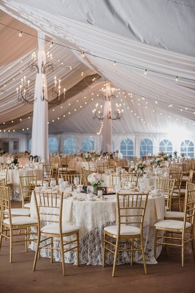 Elegant wedding reception decor - round, banquet tables with lace table linens, hanging chandeliers and string lights {Kari Dawson Weddings}
