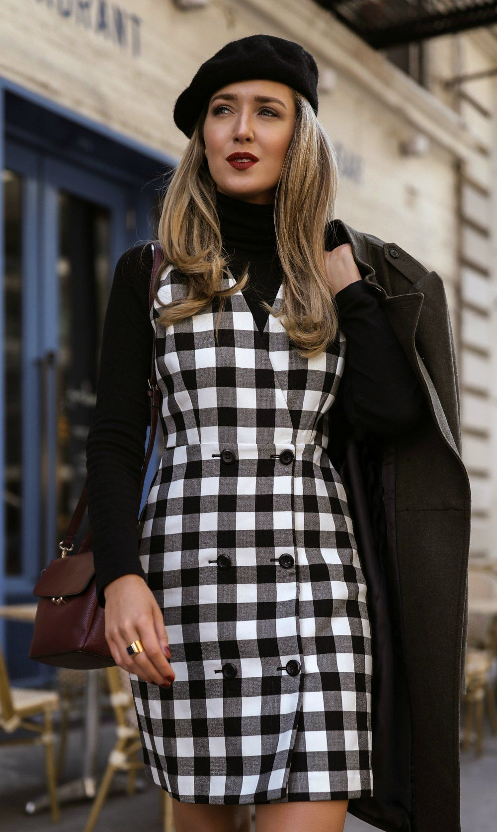 41969b92b9 Day 4  Sunday Brunch    Black + white double breasted checkered pinafore  dress