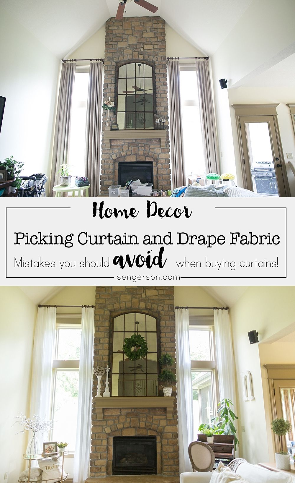 I'm sharing my favorite place to buy two story curtains that can ...