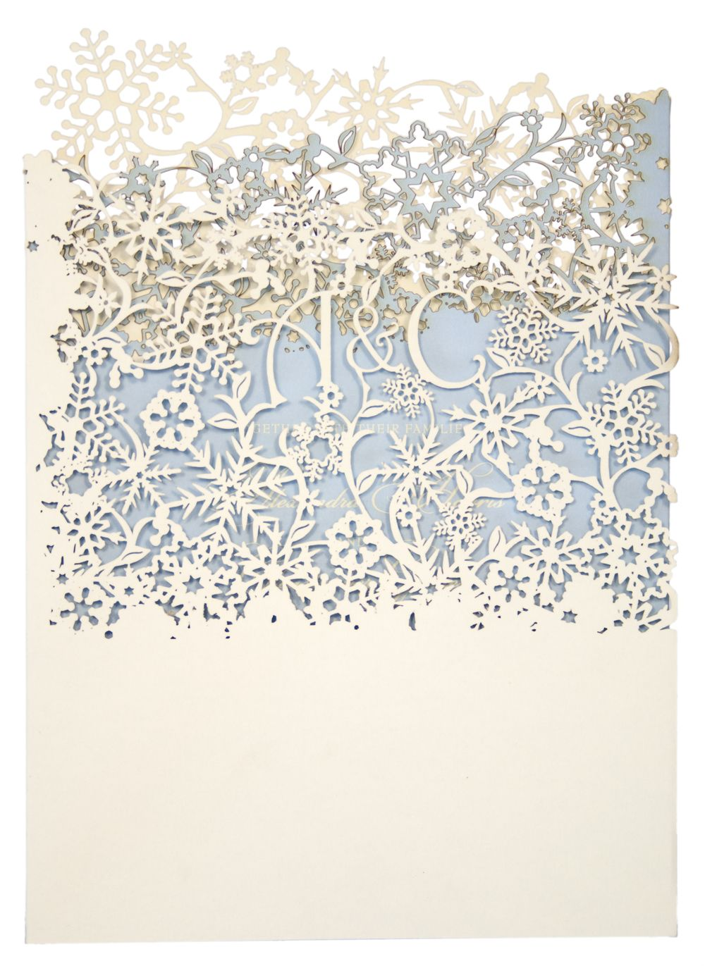 Chartula - Snowflake Bespoke Laser Cut Invitation - Natural ...