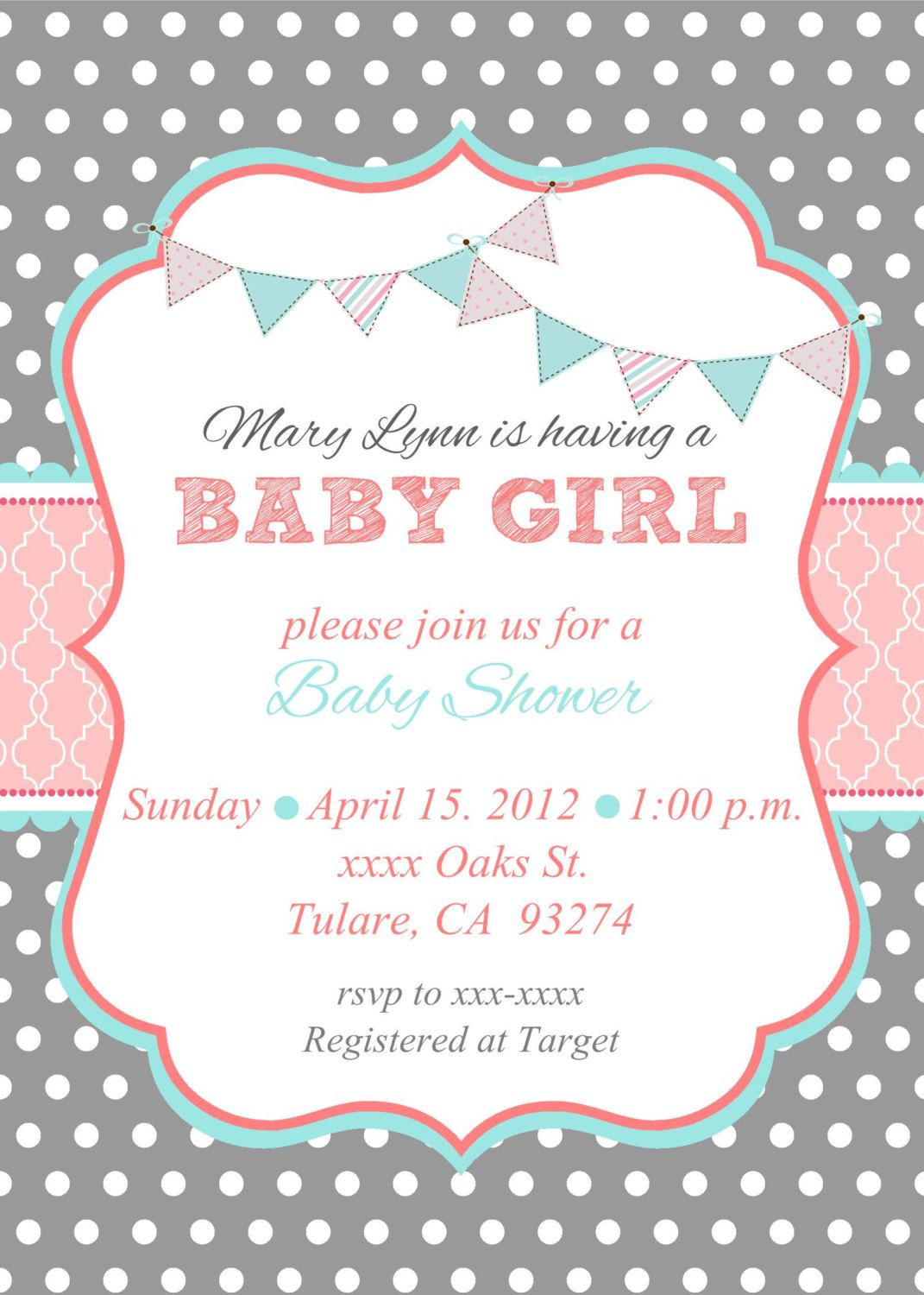baby girl shower invitation baby girl shower