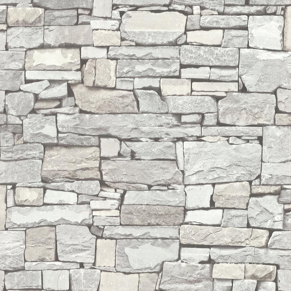 Advantage 8 in. x 10 in. Tallulah Grey Stone Wallpaper