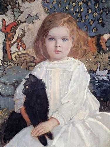 John Duncan: Baba and Billy 1920 (painting of cute little girl with ...