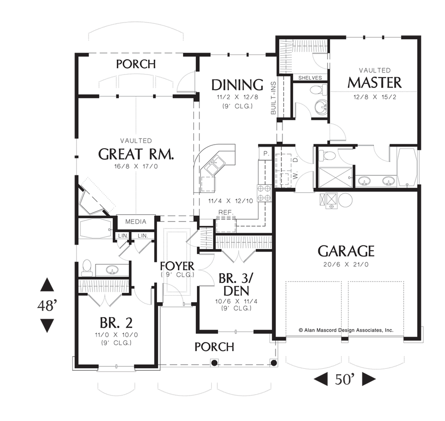 Mascord House Plan AA   Great Rooms  House plans and Room Kitchen