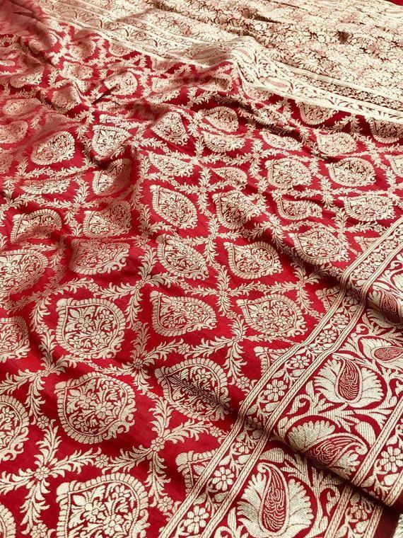Photo of Banarasi silk weaving saree, red saree, rich zari pallu saree,fancy saree, saree for women,designr saree,indian saree,saree blouse, saree