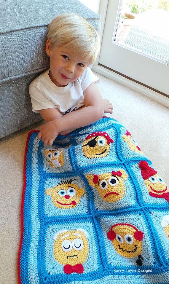 Crochet Pattern Emoticons Character Blanket Crochet
