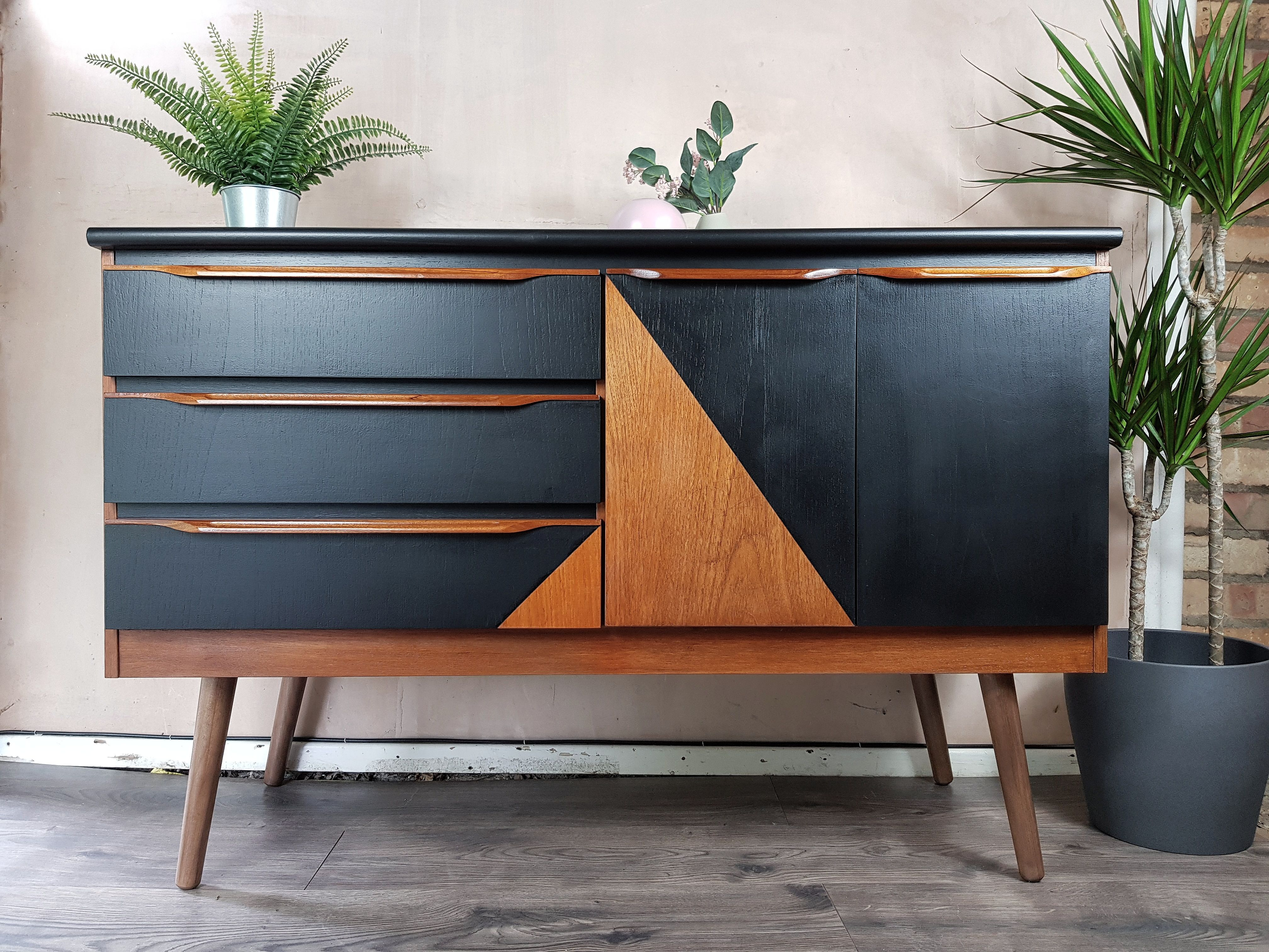 Mid Century Sideboard With Geometric Design Retro Sideboard Mid Century Sideboard Furniture