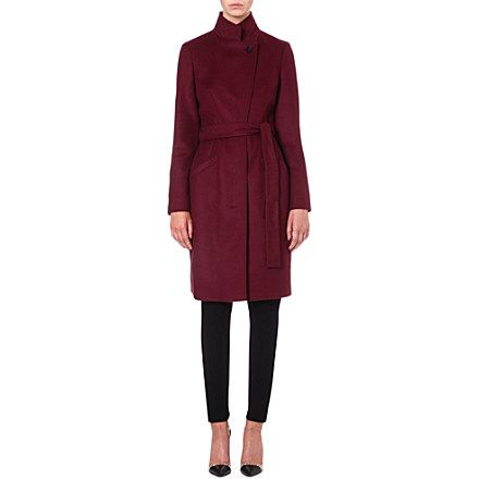 bd2bc3e0964 HUGO BOSS Wool and cashmere-blend wrap coat (Burgundy)
