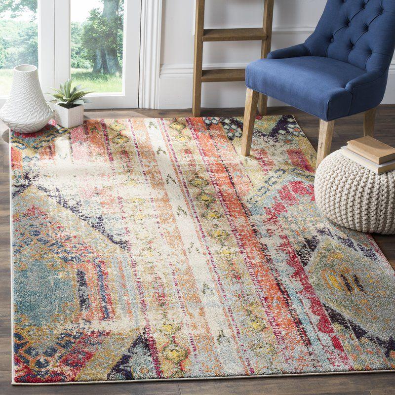 Ady beigeorange area rug bohemian style living room